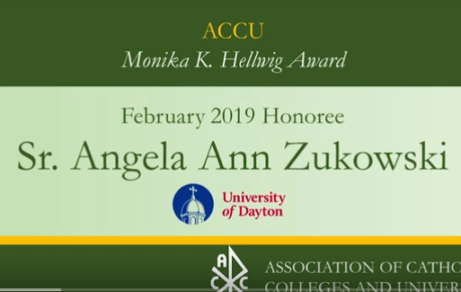Sr. Angela Ann Zukowski receives Monika K Hellwig Award 2019