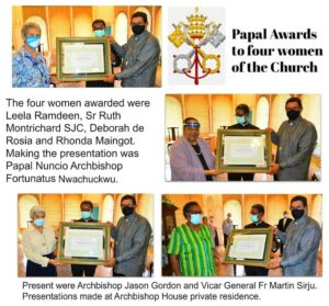 Four women receive papal recognition for service to the Catholic Church